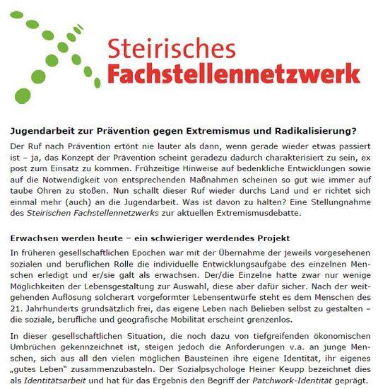 Stellungnahme Jugendarbeit zur Prävention gegen Extremismus und Radikalisierung